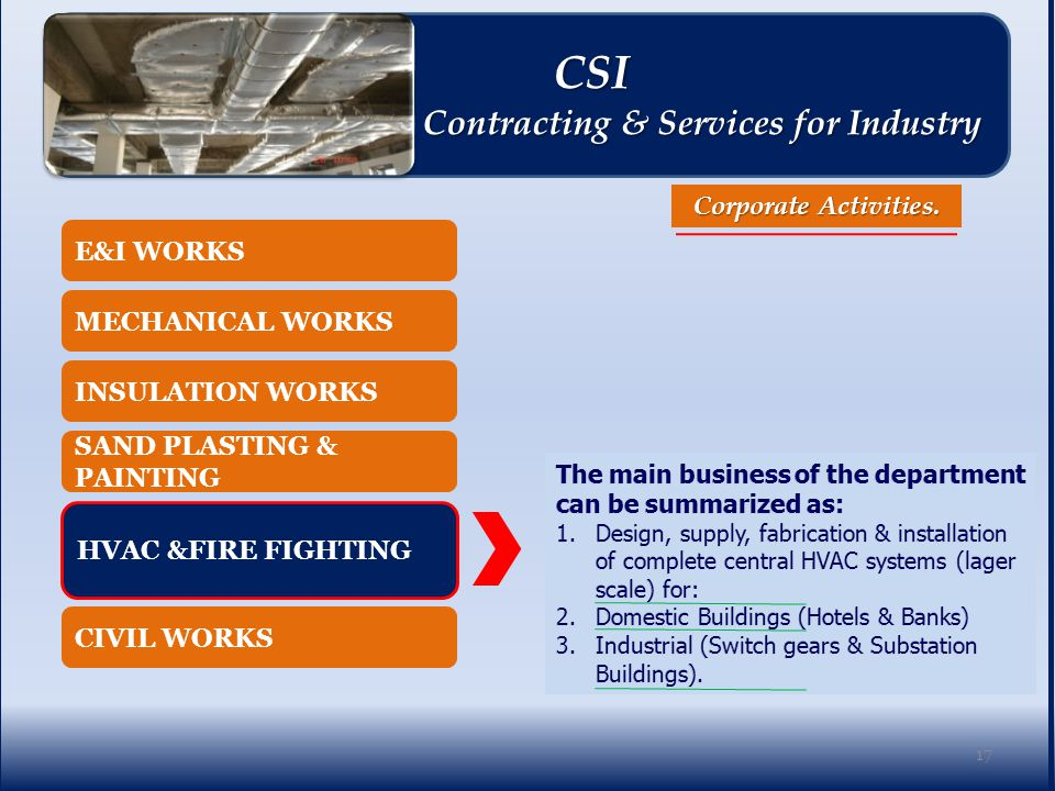 E&I WORKS MECHANICAL WORKS INSULATION WORKS SAND PLASTING & PAINTING CIVIL WORKS HVAC &FIRE FIGHTING Corporate Activities.