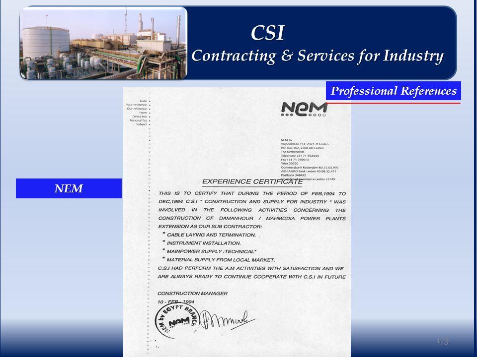 NEM 173 Professional References CSI CSI Contracting & Services for Industry Contracting & Services for Industry