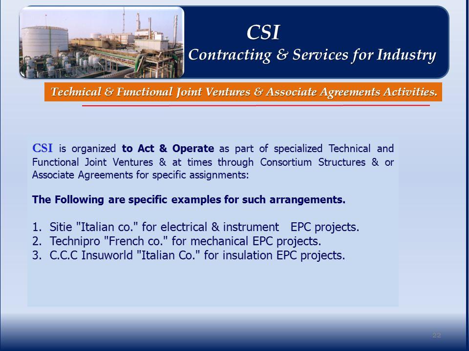 Technical & Functional Joint Ventures & Associate Agreements Activities.