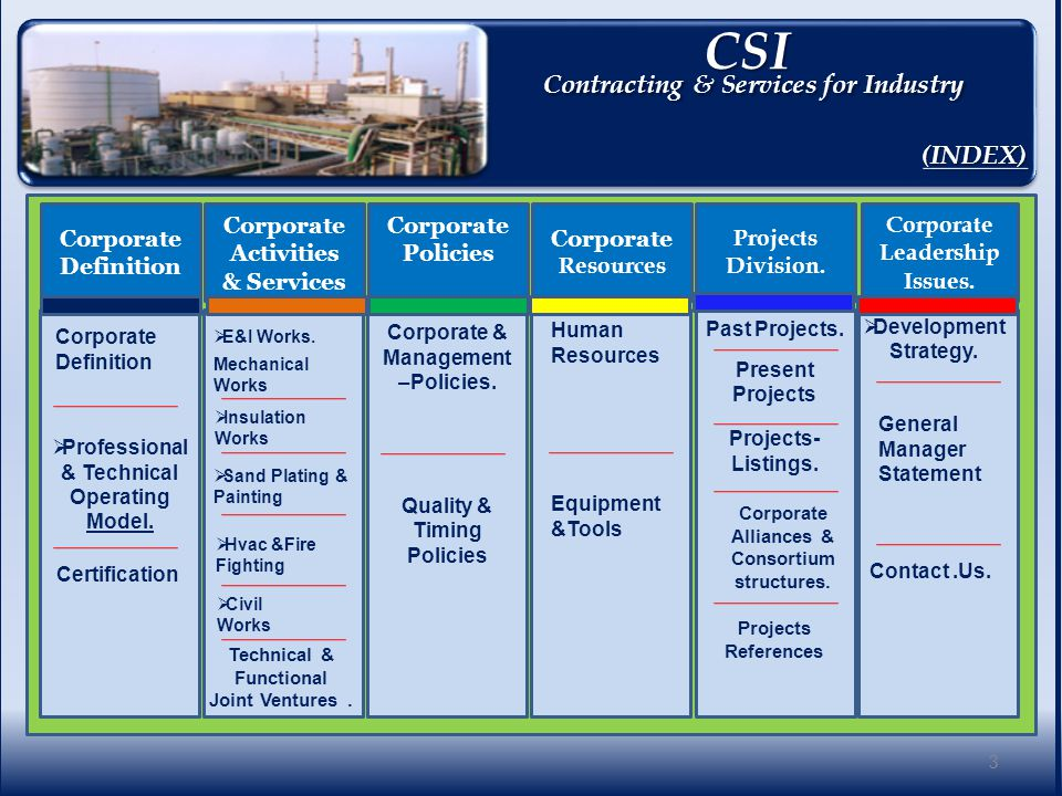 CSI CSI Contracting & Services for Industry Corporate Definition. 4