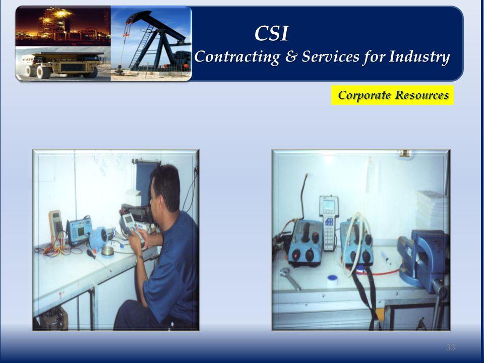 Corporate Resources 33 CSI CSI Contracting & Services for Industry Contracting & Services for Industry