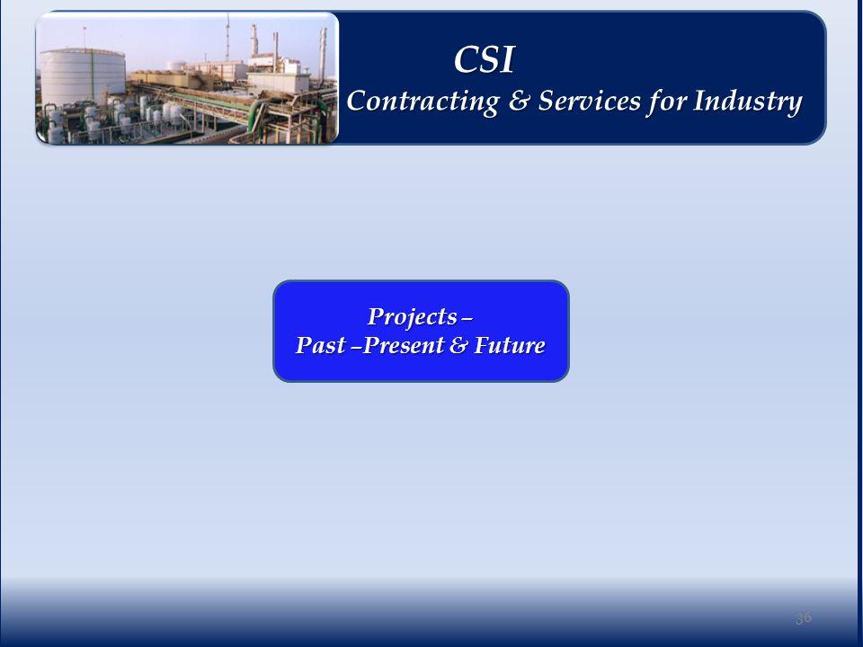 Projects – Past –Present & Future 36 CSI CSI Contracting & Services for Industry Contracting & Services for Industry