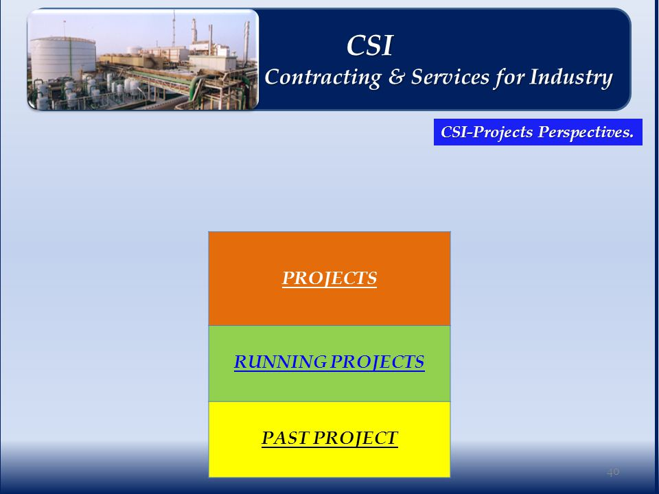 PROJECTS RUNNING PROJECTS PAST PROJECT 40 CSI CSI Contracting & Services for Industry Contracting & Services for Industry CSI-Projects Perspectives.