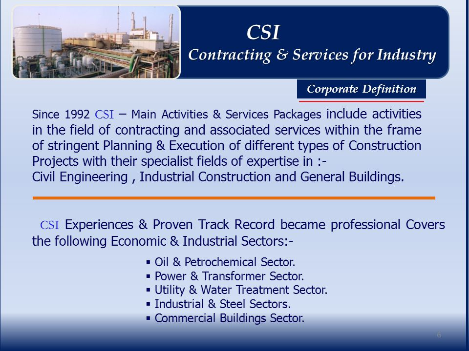 27 CSI CSI Contracting & Services for Industry Contracting & Services for Industry Corporate Policies.