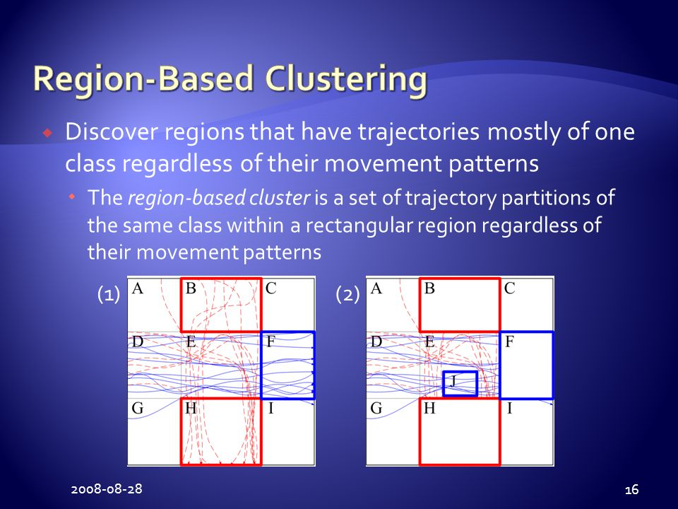 2008-08-28 16  Discover regions that have trajectories mostly of one class regardless of their movement patterns  The region-based cluster is a set of trajectory partitions of the same class within a rectangular region regardless of their movement patterns (1)(2)