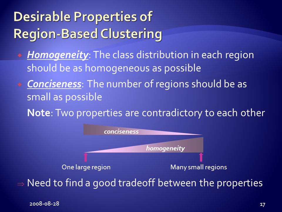 2008-08-28 17  Homogeneity: The class distribution in each region should be as homogeneous as possible  Conciseness: The number of regions should be as small as possible Note: Two properties are contradictory to each other  Need to find a good tradeoff between the properties One large regionMany small regions homogeneity conciseness