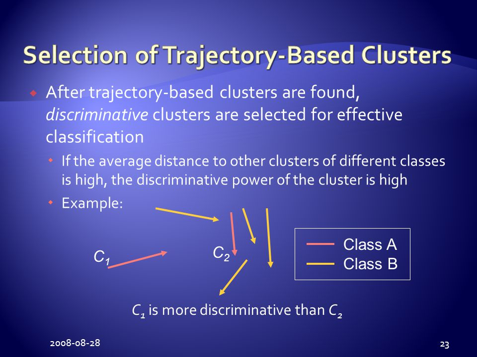 2008-08-28 23  After trajectory-based clusters are found, discriminative clusters are selected for effective classification  If the average distance to other clusters of different classes is high, the discriminative power of the cluster is high  Example: C1C1 C2C2 Class A Class B C 1 is more discriminative than C 2