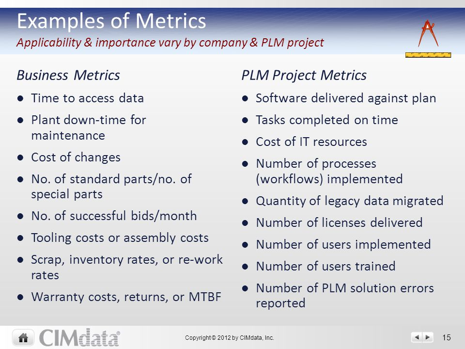Copyright © 2012 by CIMdata, Inc. 15 Business MetricsPLM Project Metrics Time to access data Plant down-time for maintenance Cost of changes No. of st