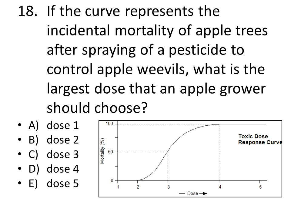 17.If the curve indicates the effects of an agricultural pesticide on a severe pest, what is the maximum dose a farmer should apply to his crop? A)dos