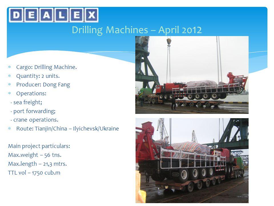  Cargo: Drilling Machine.  Quantity: 2 units.