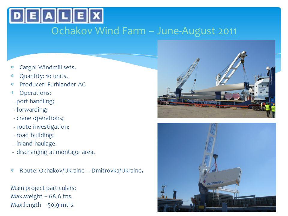  Cargo: Windmill sets.  Quantity: 10 units.