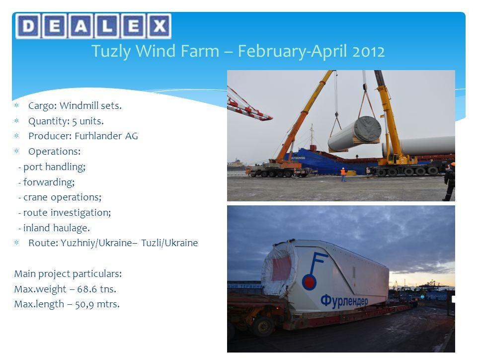  Cargo: Windmill sets.  Quantity: 5 units.