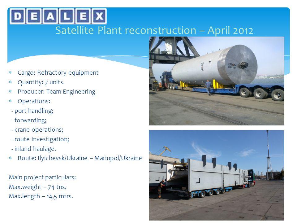  Cargo: Refractory equipment  Quantity: 7 units.