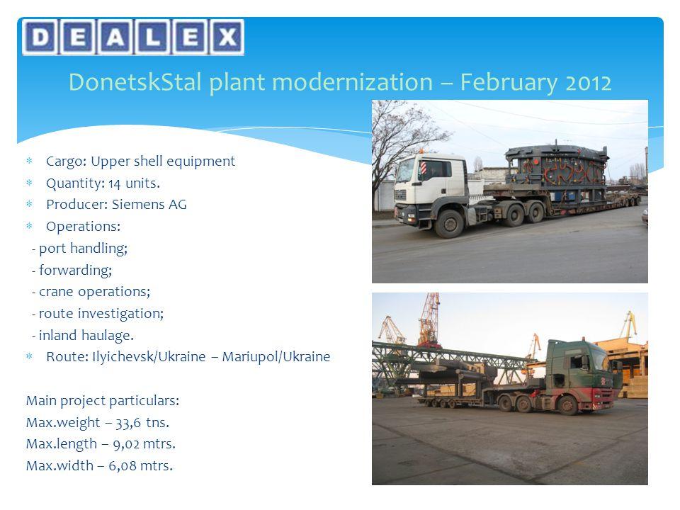  Cargo: Upper shell equipment  Quantity: 14 units.