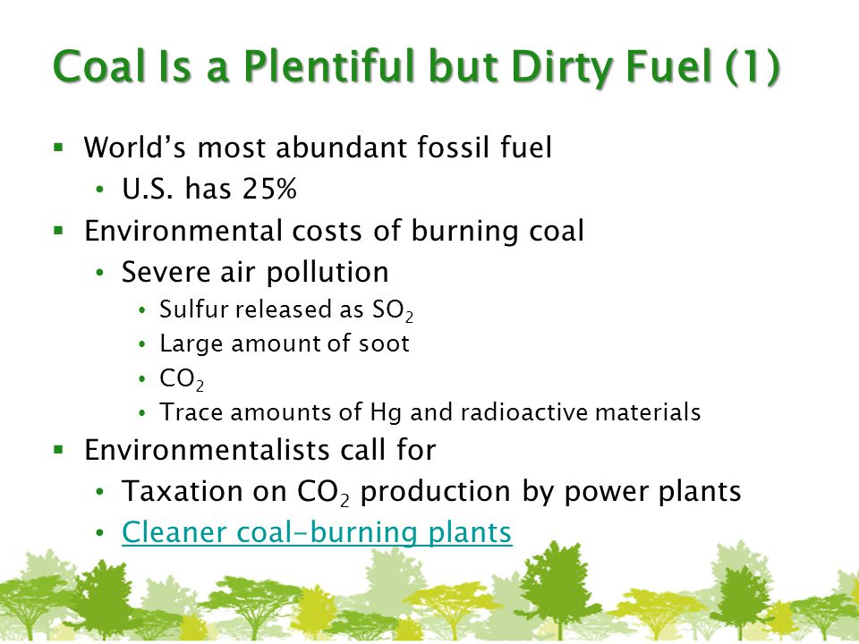 Coal Is a Plentiful but Dirty Fuel (1)  World's most abundant fossil fuel U.S. has 25%  Environmental costs of burning coal Severe air pollution Sul