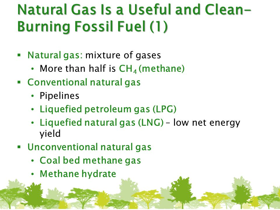 Natural Gas Is a Useful and Clean- Burning Fossil Fuel (1)  Natural gas: mixture of gases More than half is CH 4 (methane)  Conventional natural gas