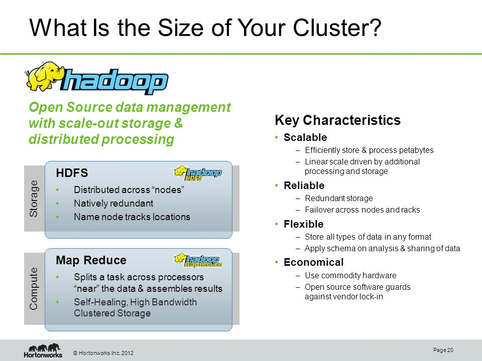 © Hortonworks Inc. 2012 Storage What Is the Size of Your Cluster.