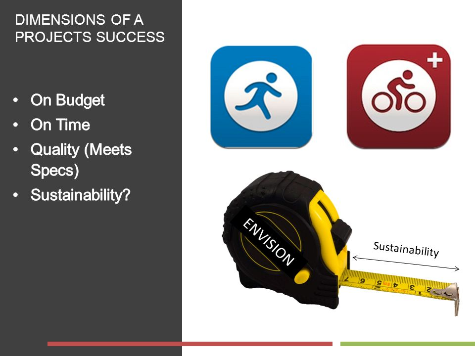 DIMENSIONS OF A PROJECTS SUCCESS Sustainability ENVISION