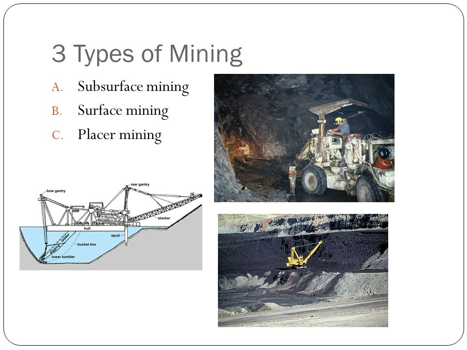 3 Types of Mining A. Subsurface mining B. Surface mining C. Placer mining