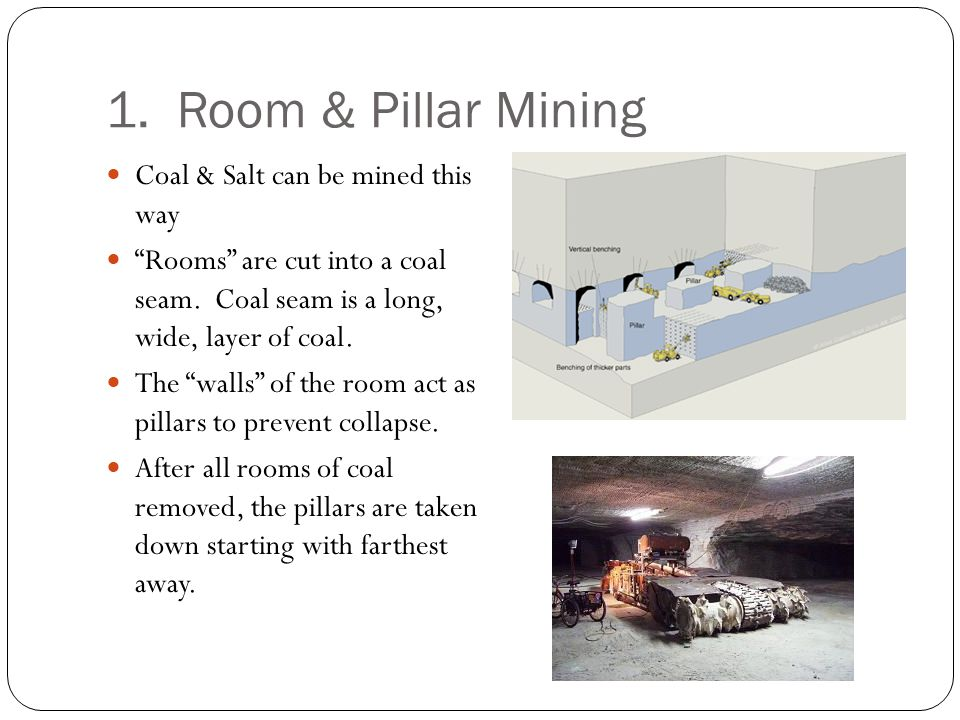 """1. Room & Pillar Mining Coal & Salt can be mined this way """"Rooms"""" are cut into a coal seam. Coal seam is a long, wide, layer of coal. The """"walls"""" of t"""