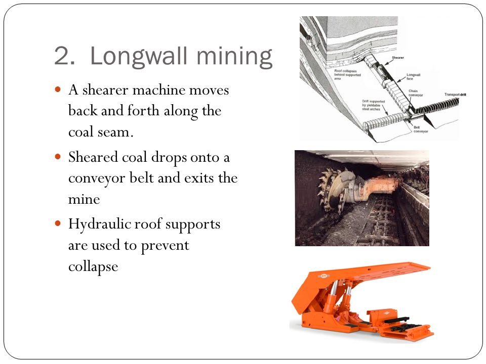2. Longwall mining A shearer machine moves back and forth along the coal seam. Sheared coal drops onto a conveyor belt and exits the mine Hydraulic ro