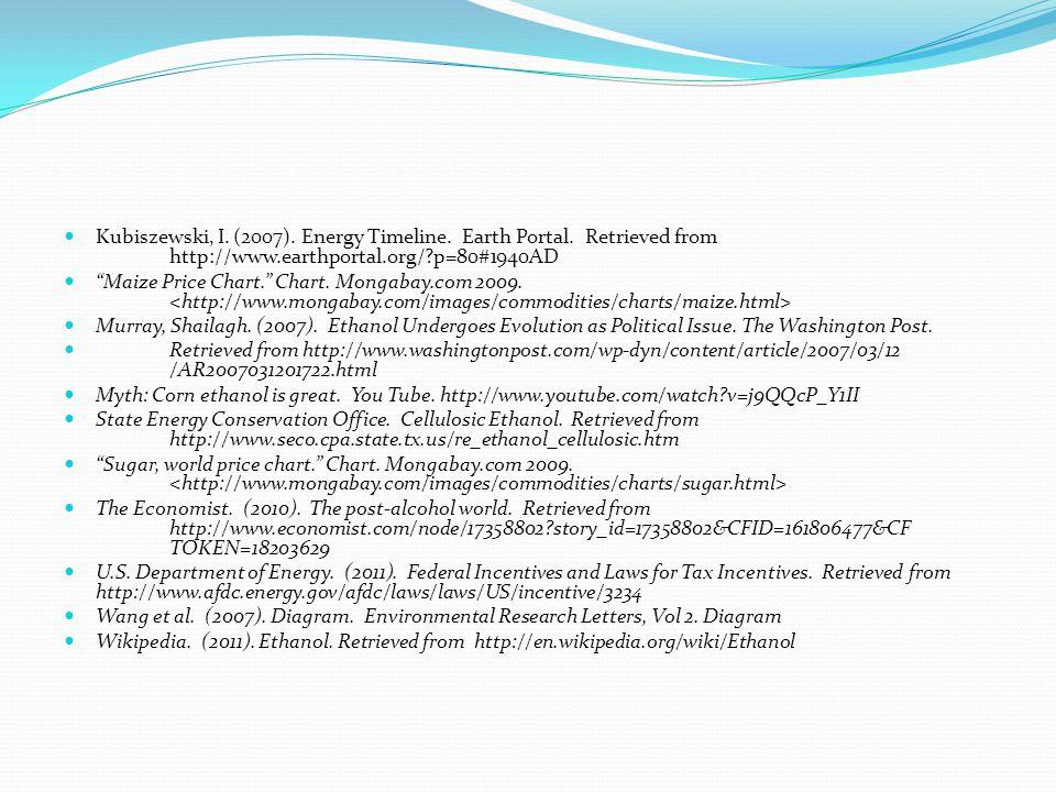 Kubiszewski, I. (2007). Energy Timeline. Earth Portal.