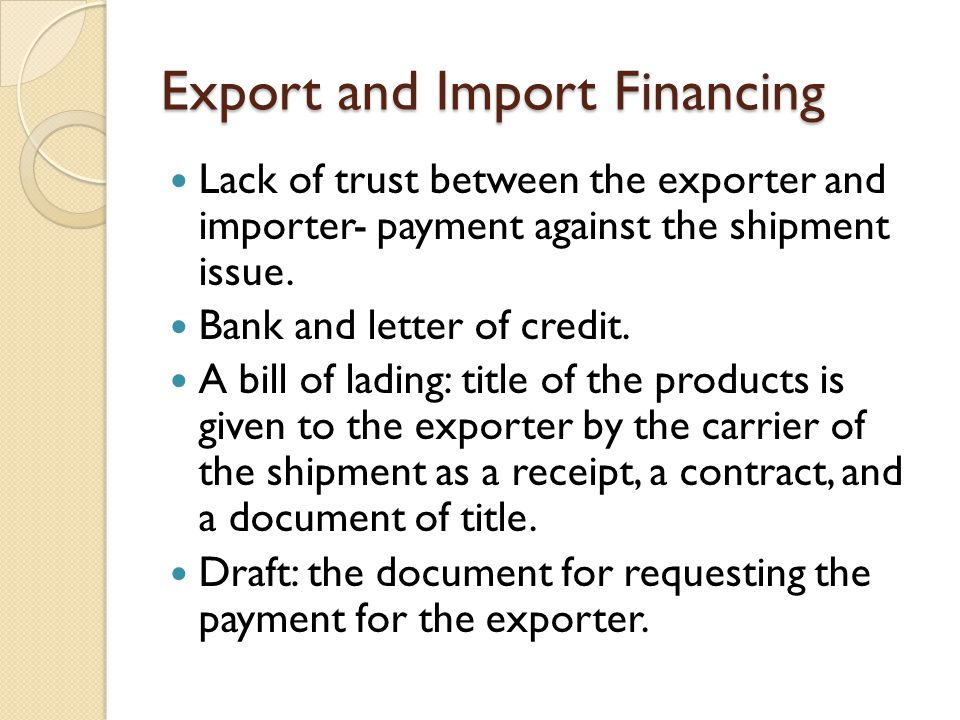 Exercise Play with your partner exporter, importer game using the text book example.