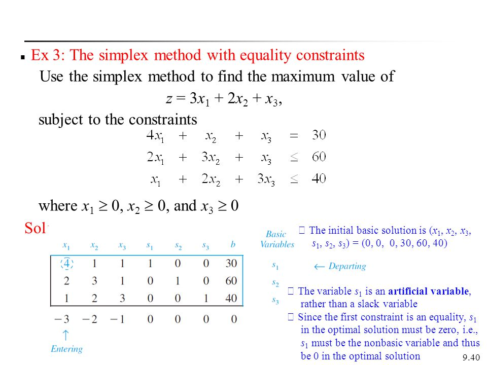 Ex 3: The simplex method with equality constraints Use the simplex method to find the maximum value of z = 3x 1 + 2x 2 + x 3, subject to the constraints where x 1  0, x 2  0, and x 3  0 9.40 Sol: ※ The initial basic solution is (x 1, x 2, x 3, s 1, s 2, s 3 ) = (0, 0, 0, 30, 60, 40) ※ The variable s 1 is an artificial variable, rather than a slack variable ※ Since the first constraint is an equality, s 1 in the optimal solution must be zero, i.e., s 1 must be the nonbasic variable and thus be 0 in the optimal solution