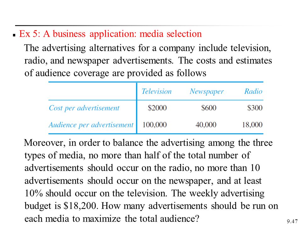 Ex 5: A business application: media selection The advertising alternatives for a company include television, radio, and newspaper advertisements.