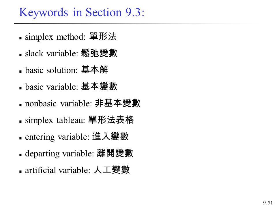 Keywords in Section 9.3: simplex method: 單形法 slack variable: 鬆弛變數 basic solution: 基本解 basic variable: 基本變數 nonbasic variable: 非基本變數 simplex tableau: 單