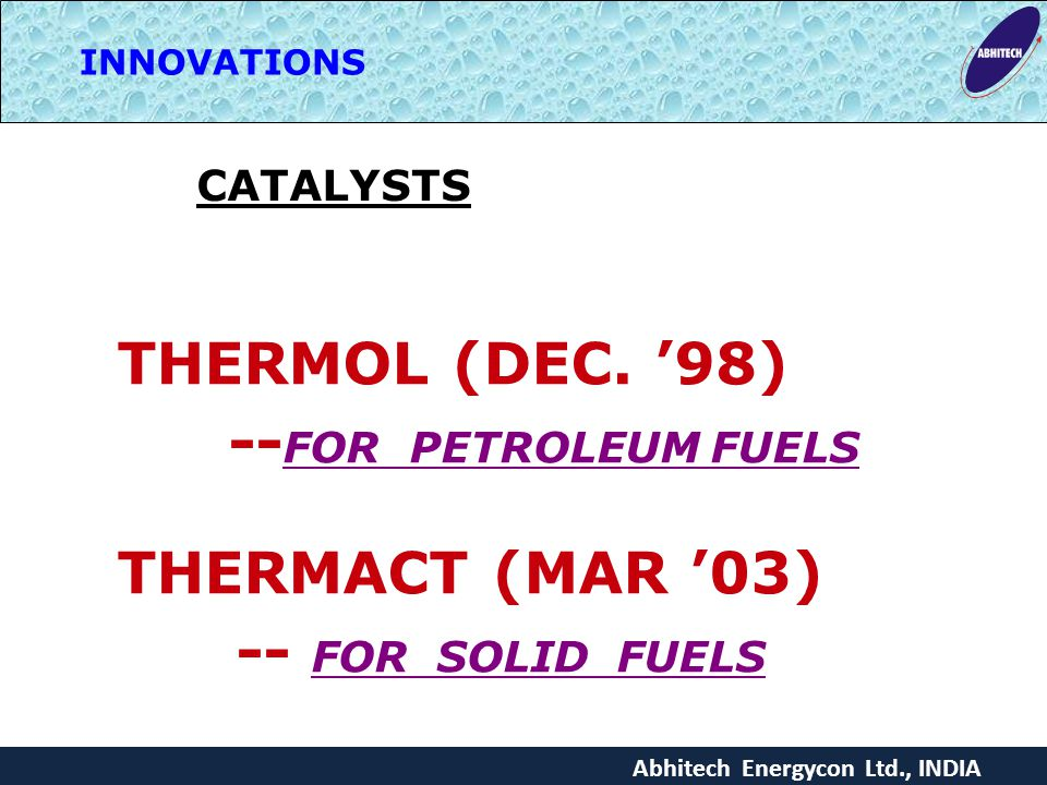 Abhitech Energycon Ltd., INDIA INNOVATIONS CATALYSTS THERMOL (DEC.