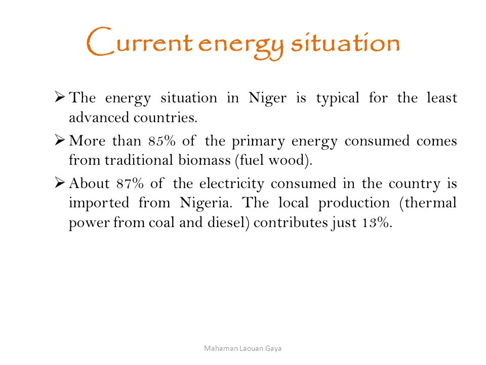 Barriers to the development of renewable energies in Niger Lack of local expertise (needs assessment, installation, maintenance equipment), Resistance of users to change, Very high investment cost Low income for populations, especially in rural areas.