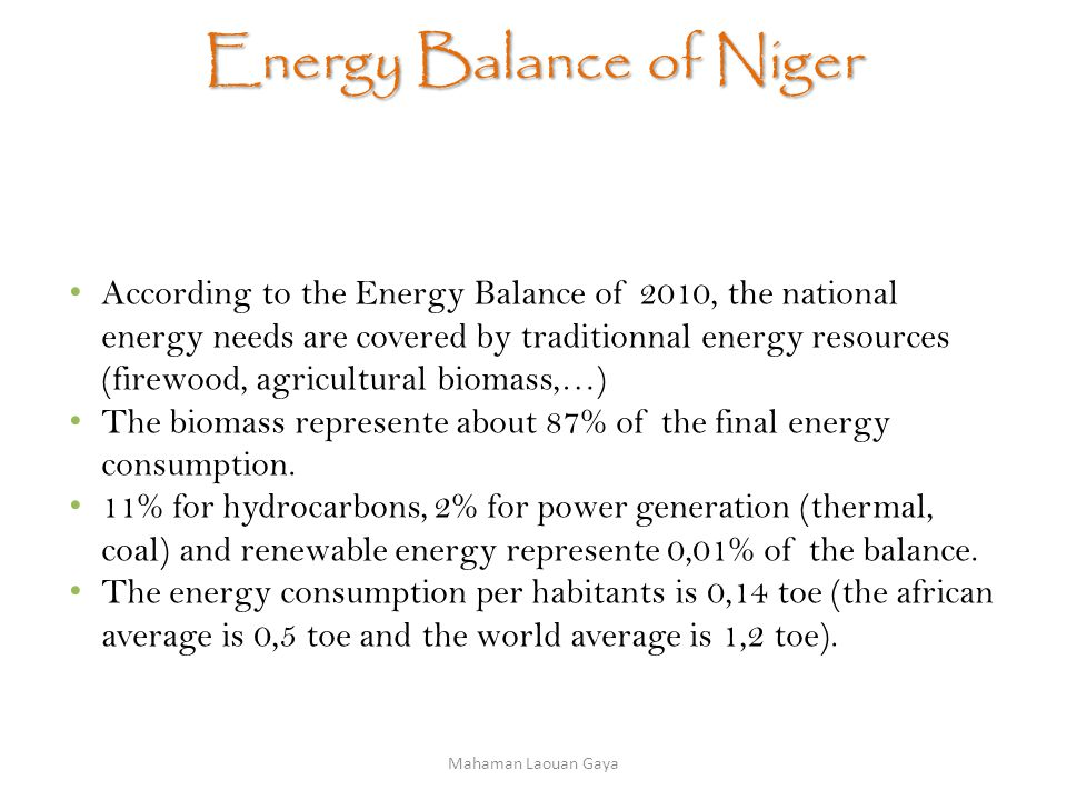 Energy Balance of Niger According to the Energy Balance of 2010, the national energy needs are covered by traditionnal energy resources (firewood, agricultural biomass,…) The biomass represente about 87% of the final energy consumption.