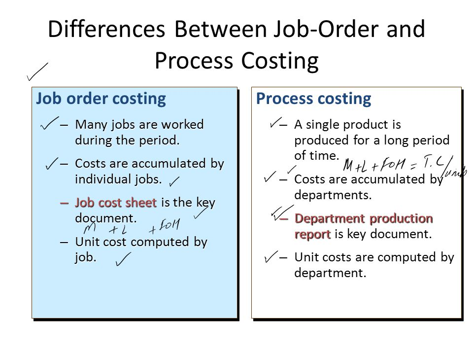 Job order costing – Many jobs are worked during the period.