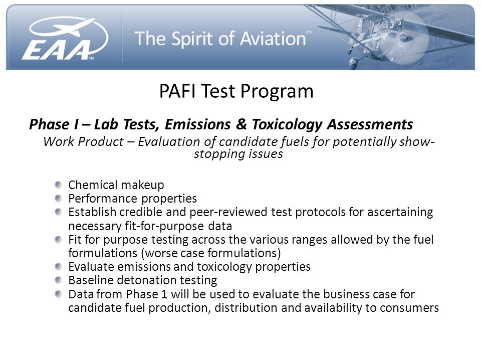 PAFI Test Program Phase I – Lab Tests, Emissions & Toxicology Assessments Work Product – Evaluation of candidate fuels for potentially show- stopping