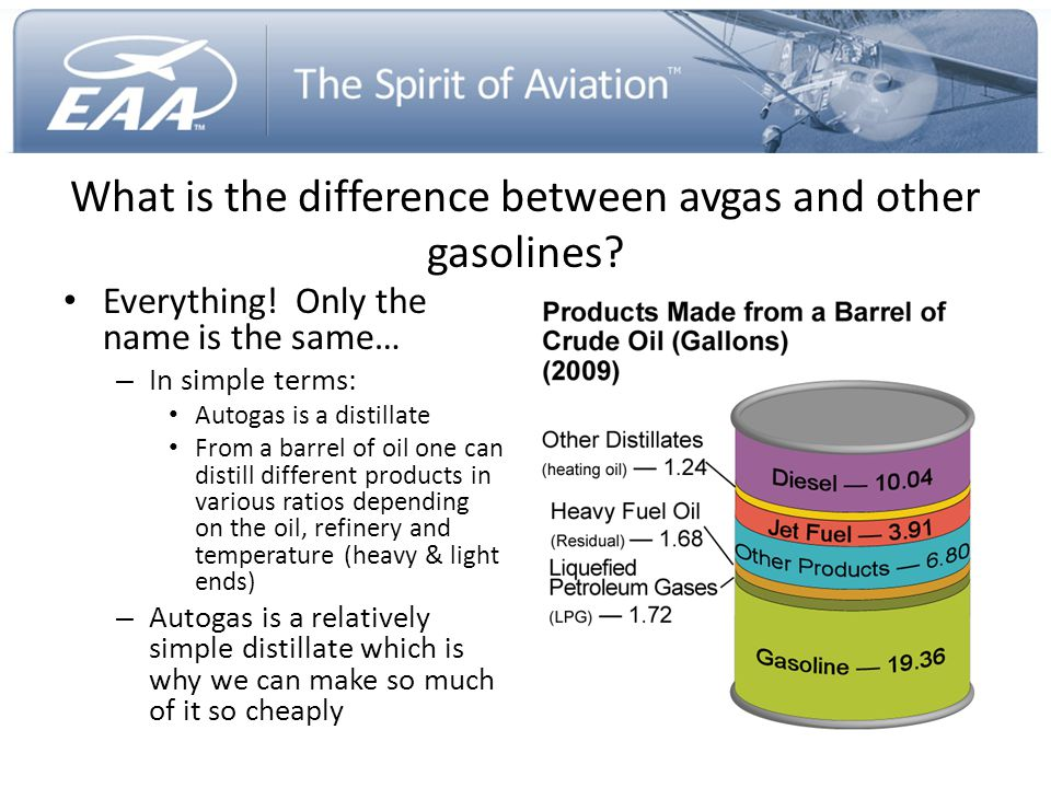 What is the difference between avgas and other gasolines? Everything! Only the name is the same… – In simple terms: Autogas is a distillate From a bar