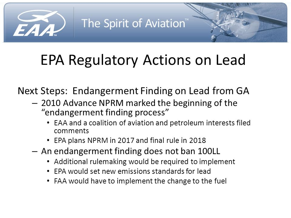 """EPA Regulatory Actions on Lead Next Steps: Endangerment Finding on Lead from GA – 2010 Advance NPRM marked the beginning of the """"endangerment finding"""