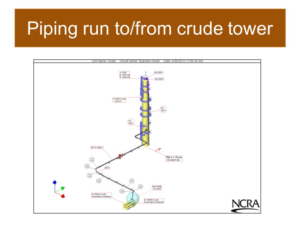 Piping run to/from crude tower