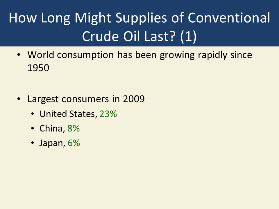 How Long Might Supplies of Conventional Crude Oil Last? (1) World consumption has been growing rapidly since 1950 Largest consumers in 2009 United Sta
