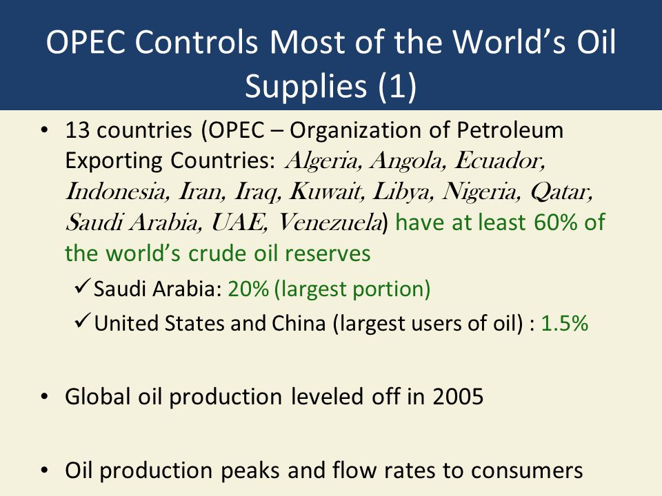 OPEC Controls Most of the World's Oil Supplies (1) 13 countries (OPEC – Organization of Petroleum Exporting Countries: Algeria, Angola, Ecuador, Indon