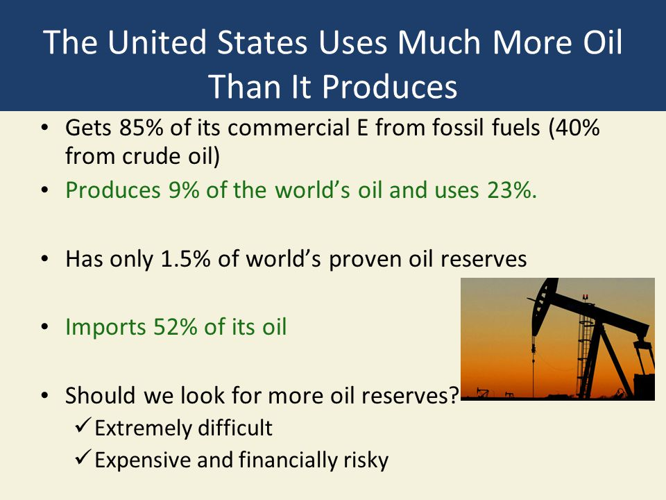 The United States Uses Much More Oil Than It Produces Gets 85% of its commercial E from fossil fuels (40% from crude oil) Produces 9% of the world's o