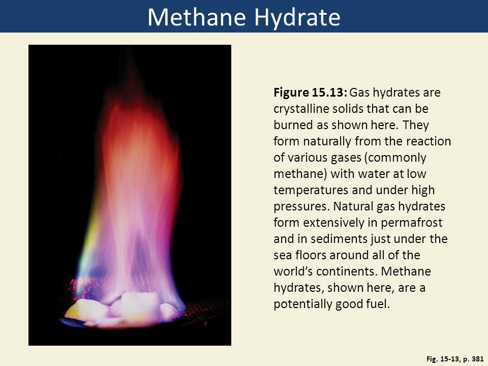 Methane Hydrate Fig. 15-13, p. 381 Figure 15.13: Gas hydrates are crystalline solids that can be burned as shown here. They form naturally from the re