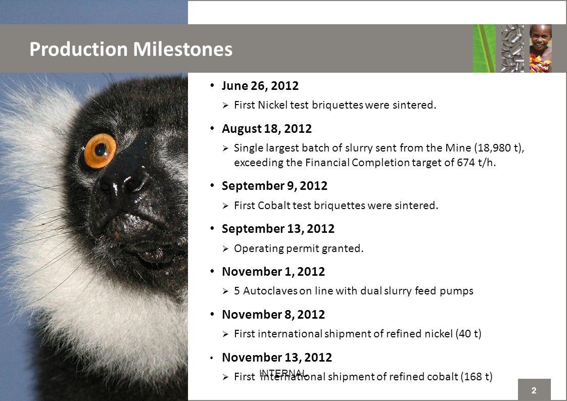 2 INTERNAL Production Milestones June 26, 2012  First Nickel test briquettes were sintered.