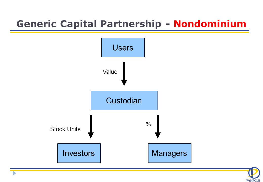 Generic Capital Partnership - Nondominium Users Custodian ManagersInvestors Value % Stock Units
