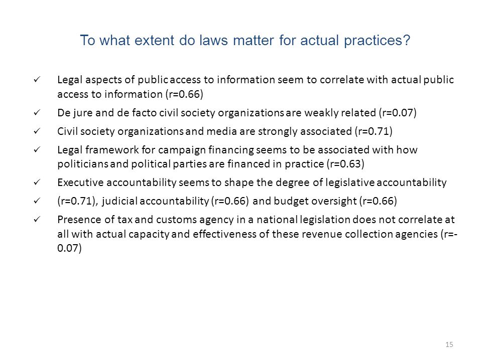 15 To what extent do laws matter for actual practices.