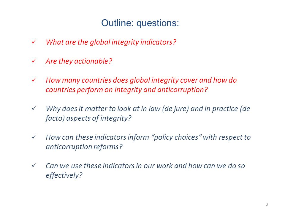 4 What are the global integrity indicators.
