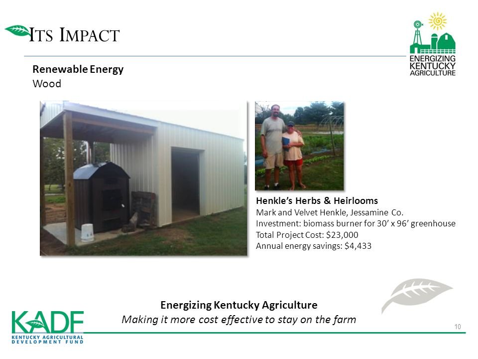 I TS I MPACT Energizing Kentucky Agriculture Making it more cost effective to stay on the farm Henkle's Herbs & Heirlooms Mark and Velvet Henkle, Jessamine Co.