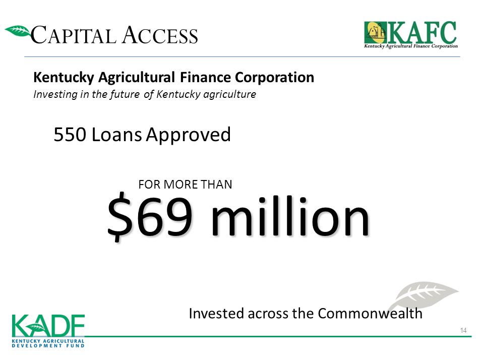 C APITAL A CCESS Invested across the Commonwealth FOR MORE THAN $69 million 550 Loans Approved Kentucky Agricultural Finance Corporation Investing in the future of Kentucky agriculture 14