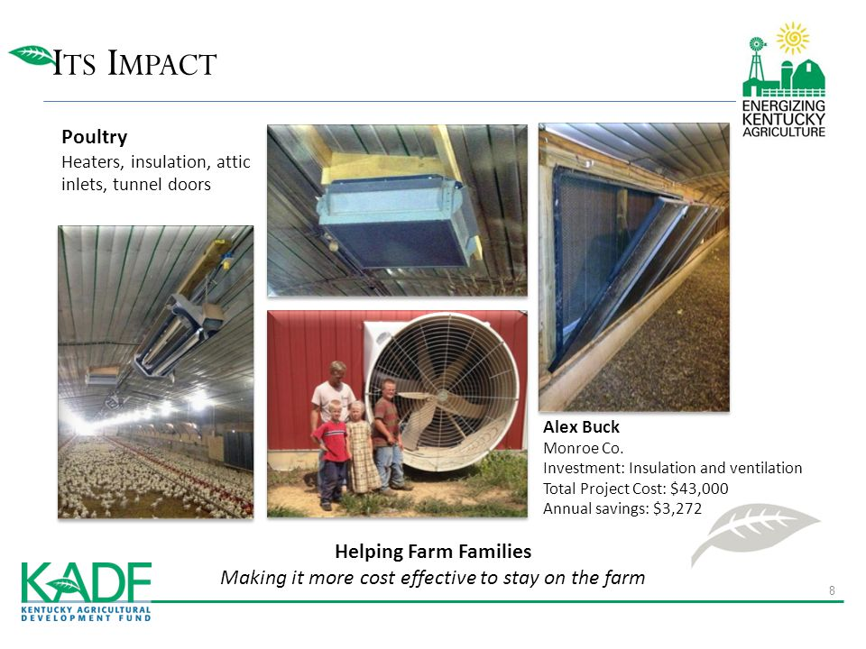 I TS I MPACT Poultry Heaters, insulation, attic inlets, tunnel doors Helping Farm Families Making it more cost effective to stay on the farm Alex Buck
