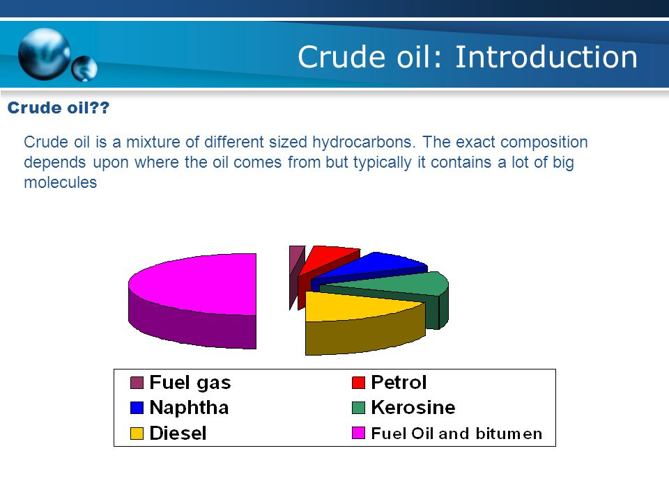 Crude oil: Introduction Crude oil?. Crude oil is a mixture of different sized hydrocarbons.